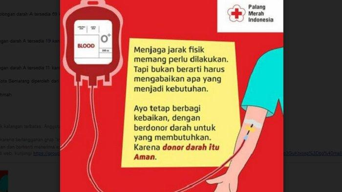 Stok Darah PMI Kota Semarang Sore Ini Minggu 21 Februari 2021, Dua Komponen Menipis
