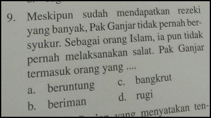 Heboh Nama Pak Ganjar Jadi Soal Pilihan Ganda Buku Anak SD, Disebut Beragama Islam Tak Pernah Salat