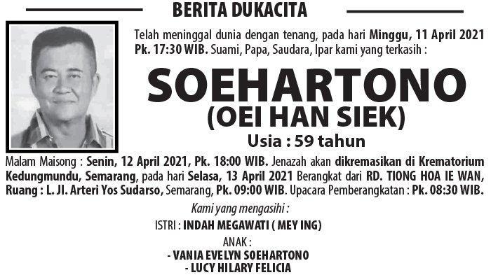 Berita Duka, Soehartono (Oei Han Siek) Meninggal Dunia di Semarang