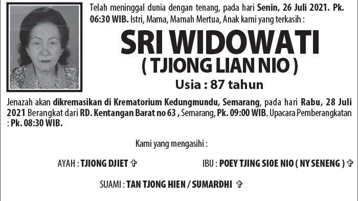 Berita Duka, Sri Widowati (Tjiong Lian Nio) Meninggal Dunia di Semarang