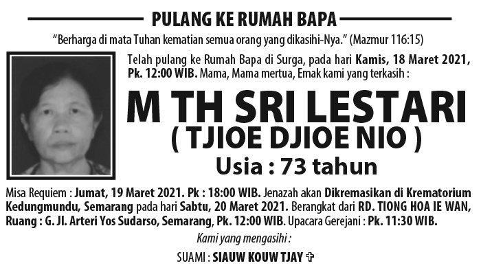 Berita Duka, M Th Sri Lestari (Tjioe Djioe Nio) Meninggal Dunia di Semarang