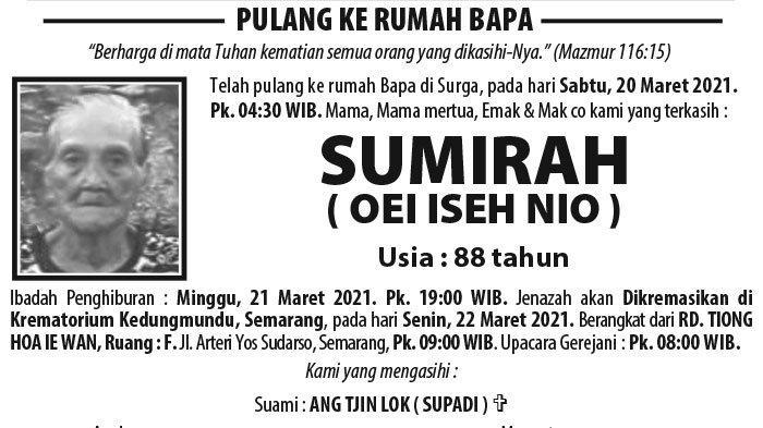 Berita Duka, Sumirah (Oei Iseh Nio) Meninggal Dunia di Semarang