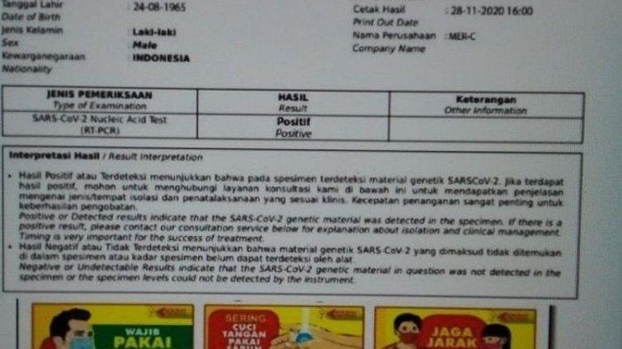 Foto Surat Hasil Tes Swab Habib Rizieq Positif Covid-19 Beredar di Medsos, Ini Kata MER-C