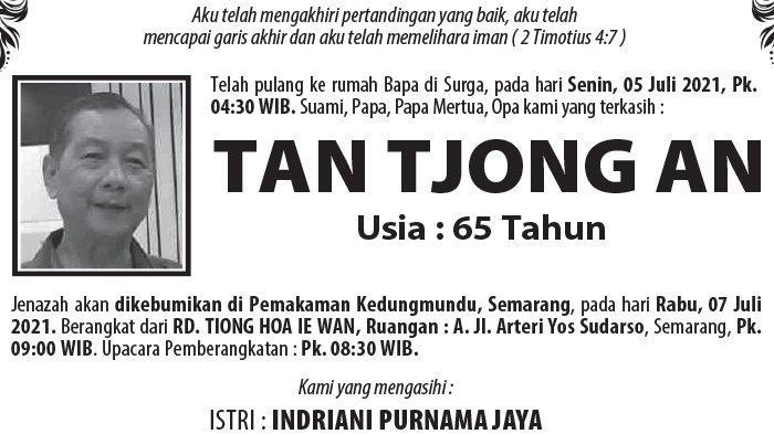 Kabar Duka, Tan Tjong An Meninggal Dunia di Semarang