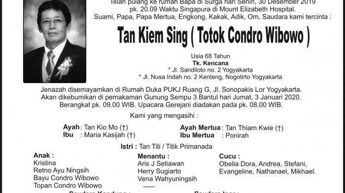 Berita Duka, Totok Condro Wibowo (Tan Kiem Sing) Meninggal Dunia di Mount Elizabeth Hospital