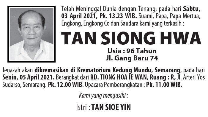 Kabar Duka, Tan Siong Hwa Meninggal Dunia di Semarang