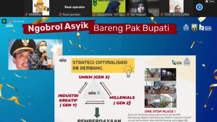 Tangkapan layar Acara Ngobrol Asyik Bareng Pak Bupati yang juga disiarkan secara virtual dan diikuti oleh berbagai lapisan masyarakat Rembang