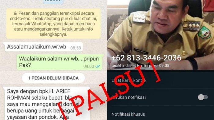 Foto dan Nama Bupati Blora Arief Rohman Dicatut, Penipu Minta Uang Galang Donasi Lewat Whatsapp WA