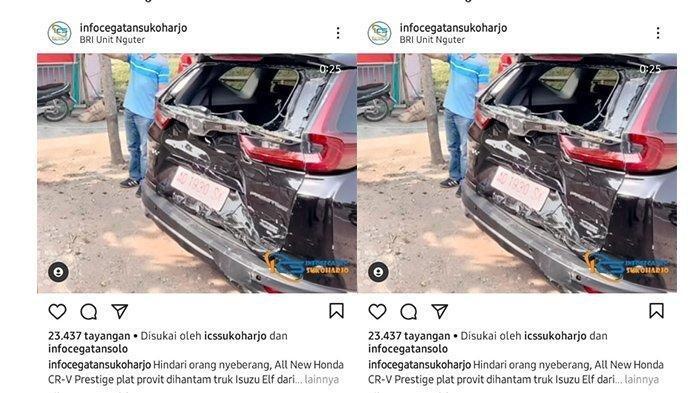 Mobil CRV Kinyis-kinyis Kecelakaan Ditabrak Truk di Sukoharjo, Sopir Hindari Pejalan Kaki