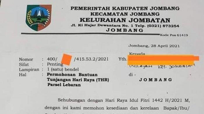 Surat Lurah di Jombang Viral, Isinya Minta Pengusaha Berikan THR dan Parsel ke 16 Pegawai Kelurahan