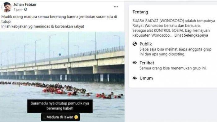 Tangkapan layar unggahan pemudik berenang di Selat Madura Surabaya karena Jembatan Suramadu ditutup