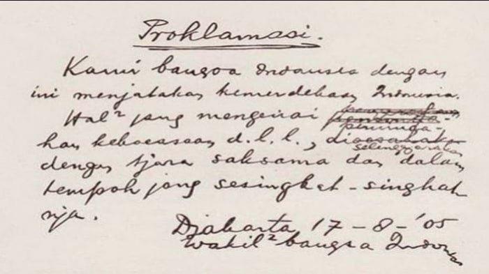 Sejarah Perumusan Teks Proklamasi Dibuat Dalam 2 Jam Saat Dini Hari & Perubahan Katanya