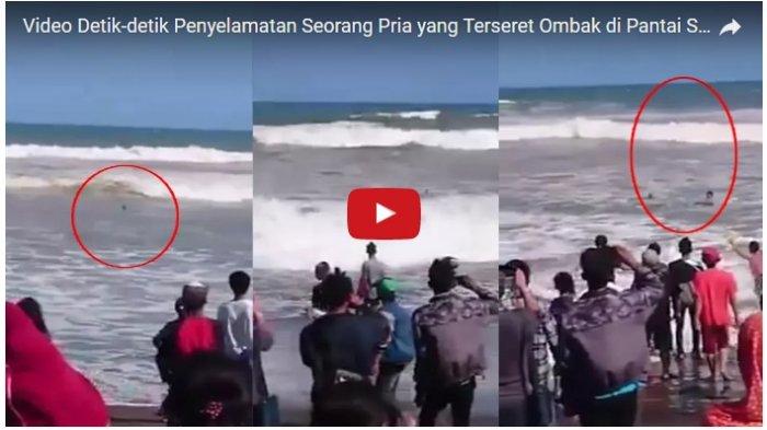 Detik-detik Mendebarkan Penyelamatan Seorang Pria yang Terseret Ombak di Pantai Suwuk, Kebumen
