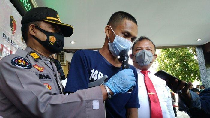 Tersangka pembunuhan dua wanita di Pageruyung Kendal, Ari Rismawan (30) menjalani gelar perkara di Polres Kendal, Senin (17/5/2021).