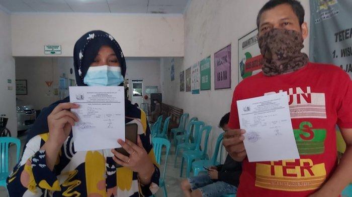 Pemudik yang akan balik ke perantauan melakukan tes rapid antigen di Puskesmas Kedungwuni 1, Kecamatan Kedungwuni, Kabupaten Pekalongan, Jawa Tengah.