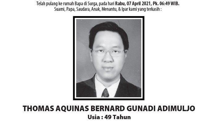 Berita Duka, Thomas Aquinas Bernard Gunadi Adimuljo Meninggal di Semarang