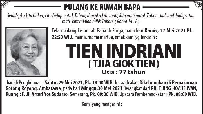 Berita Duka, Tien Indriani Meninggal Dunia di Semarang