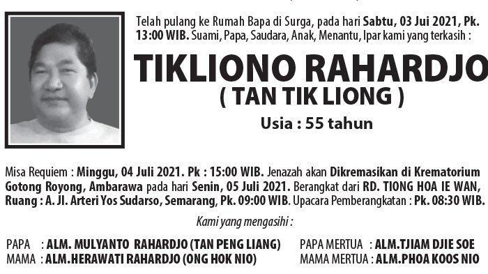 Berita Duka, Tikliono Rahardjo (Tan Tik Liong) Meninggal Dunia di Semarang