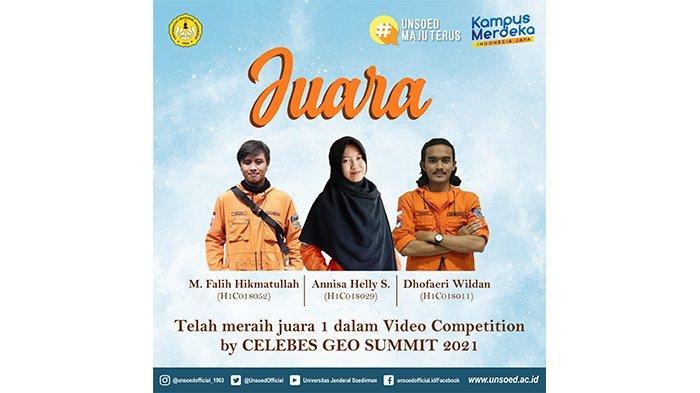 Tim Kedua Teknik Geologi UNSOED Juara 1 Video Competition CGS 2021