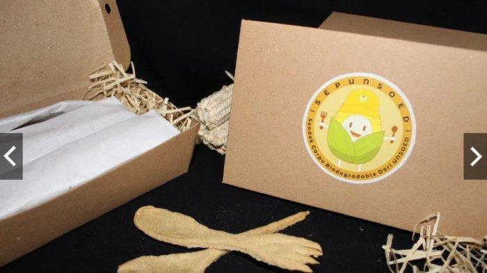 Inovasi Mahasiswa Unsoed Purwokerto, Limbah Tongkol Jagung Jadi Alat Makan Ramah Lingkungan