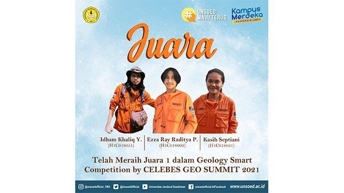 Mahasiswa Teknik Geologi Unsoed Purwokerto Panen Juara di Ajang Celebes Geo Summit 2021