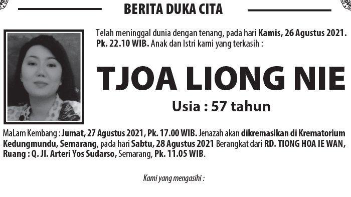 Berita Duka, Tjoa Liong Nie Meninggal Dunia di Semarang