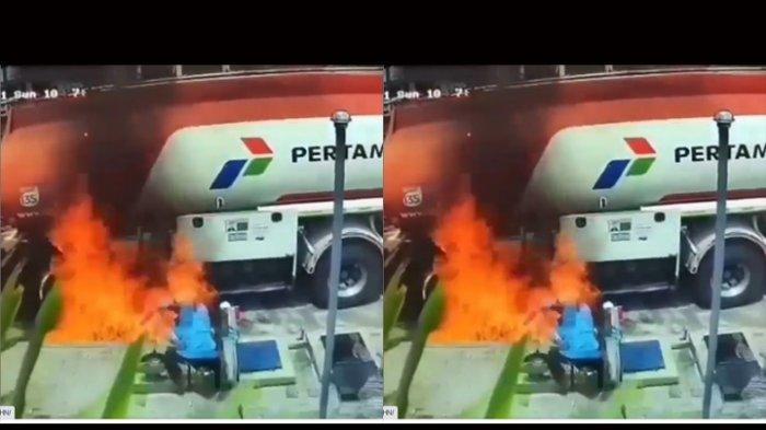 CCTV Kebakaran Truk BBM Saat Bongkar Muat di SPBU Temanggung