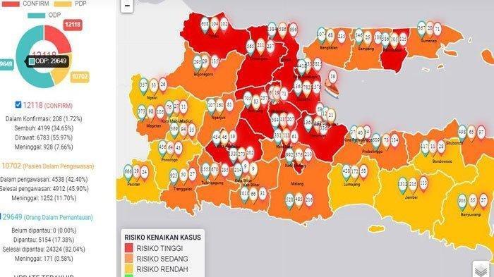 Update Corona di Surabaya & Jatim 1 Juli 2020 Serta Peta Sebarannya,2.425Pasien Sembuh