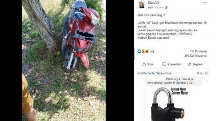 Motor Dikunci Stang, Pencuri AngkutBan dan Velg, Pemilik: Saya Juga Bingung