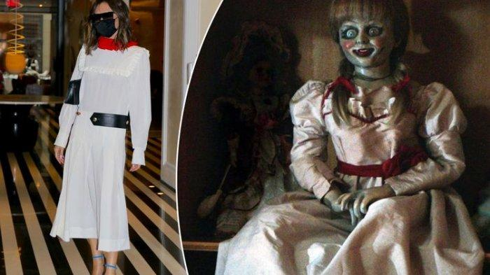 Victoria Beckham (kiri) dan boneka Annabelle (kanan).(TANGKAP LAYAR PAGESIX)