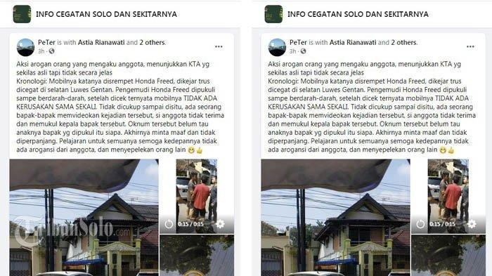 Video viral Facebook video pria mengaku TNi yang main aksi koboi di jalanan Jl Raya Pajang, Sukoharjo, Minggu (6/6/2021).