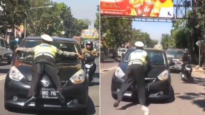Viral Polisi Nemplok di Kap Mobil, Terseret Hingga Beberapa Meter, Beruntung Tidak Mengalami Luka