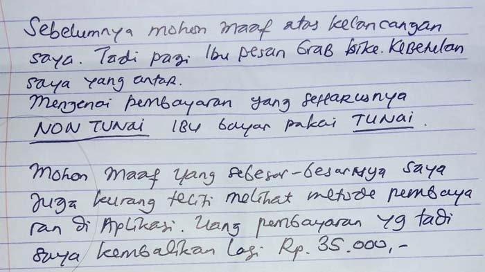 Pulang Kerja, Wanita Ini Temukan Surat dari Driver Ojol di Bawah Pintu, Isinya Kini Viral