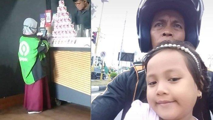 Dina, Bocah 9 Tahun Pakai Atribut Gojek Ambil Orderan Viral, Ayah yang Sakit Memperhatikan dari Jauh