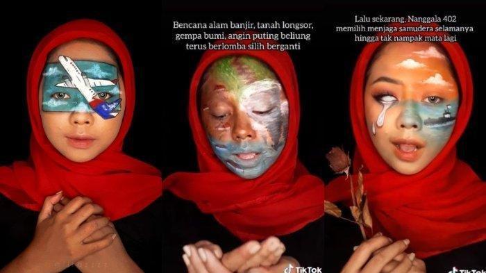 Wanita Ini Gambarkan Musibah di Indonesia lewat Make Up, Rela Tak Tidur demi Curahkan Isi Hati