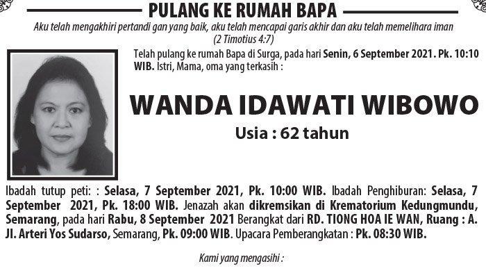 Berita Duka, Wanda Idawati Wibowo Meninggal Dunia di Semarang
