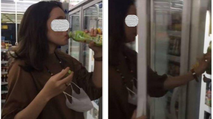 Wanita Tenggak Minuman Dikembalikan Lagi ke Rak Minimarket, Netizen Langsung Hujat