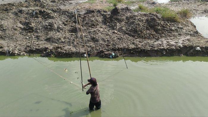 Para warga berburu  ikan di Kolam  Retensi Muktiharjo Kidul saat dikeringkan, Kamis (14/10/2021).