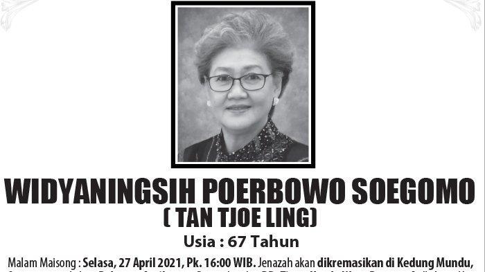 Kabar Duka, Widyaningsih Poerbowo Soegomo (Tan Tjoe Ling) Meninggal di Semarang