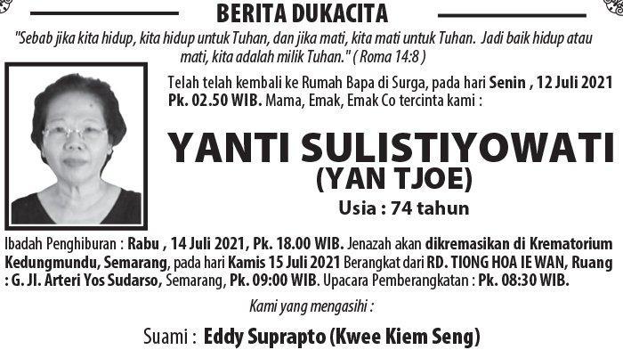 Kabar Duka, Yanti Sulistiyowati (Yan Tjoe) Meninggal Dunia di Semarang