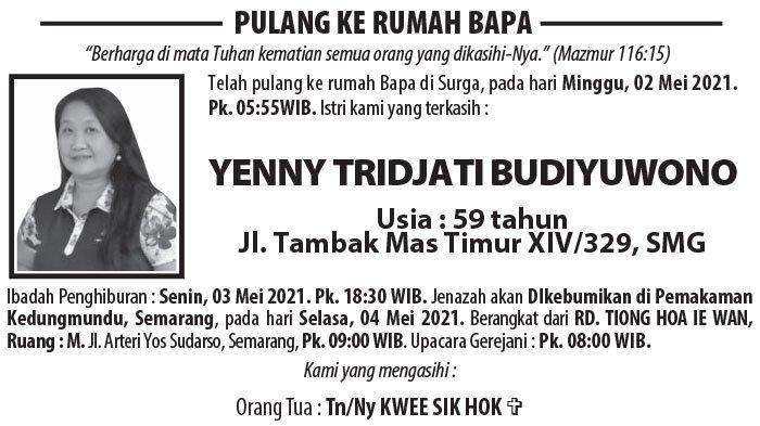 Berita Duka, Yenny Tridjati Budiyuwono Meninggal di Semarang