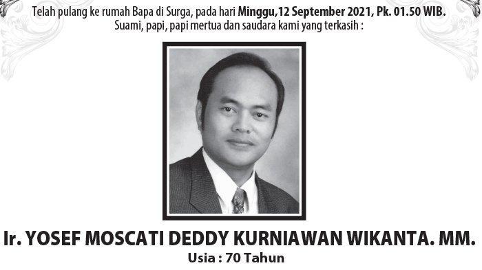 Berita Duka, Ir Yosef Moscati Deddy Kurniawan Wikanta MM Meninggal di Semarang