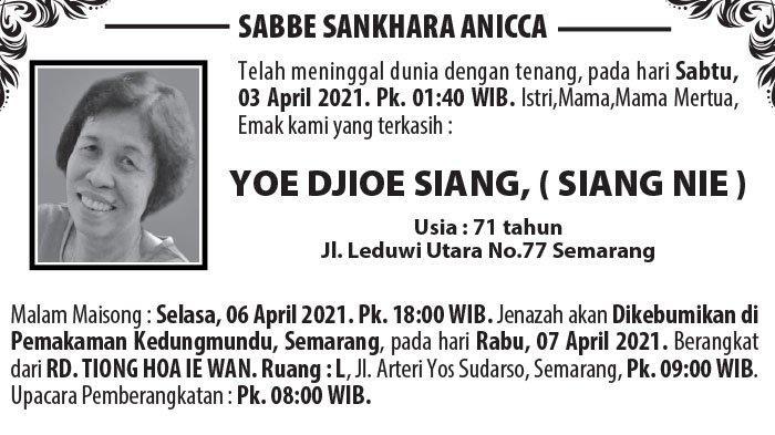 Berita Duka, Yoe Djioe Siang (Siang Nie) Meninggal Dunia di Semarang