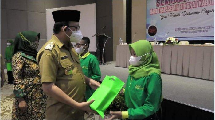 Yayasan Thalasemia Indonesia (YTI) Kabupaten Banyumas saat menyelenggarakan seminar kesehatan yang bertajuk Yuk Kenali darahmu dan Cegah Thalasemia, Selasa (22/6/2021).