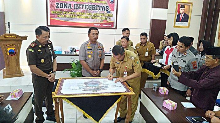 Canangkan Zona Integritas, Polres Wonogiri Komitmen Tingkatkan Layanan Bersih