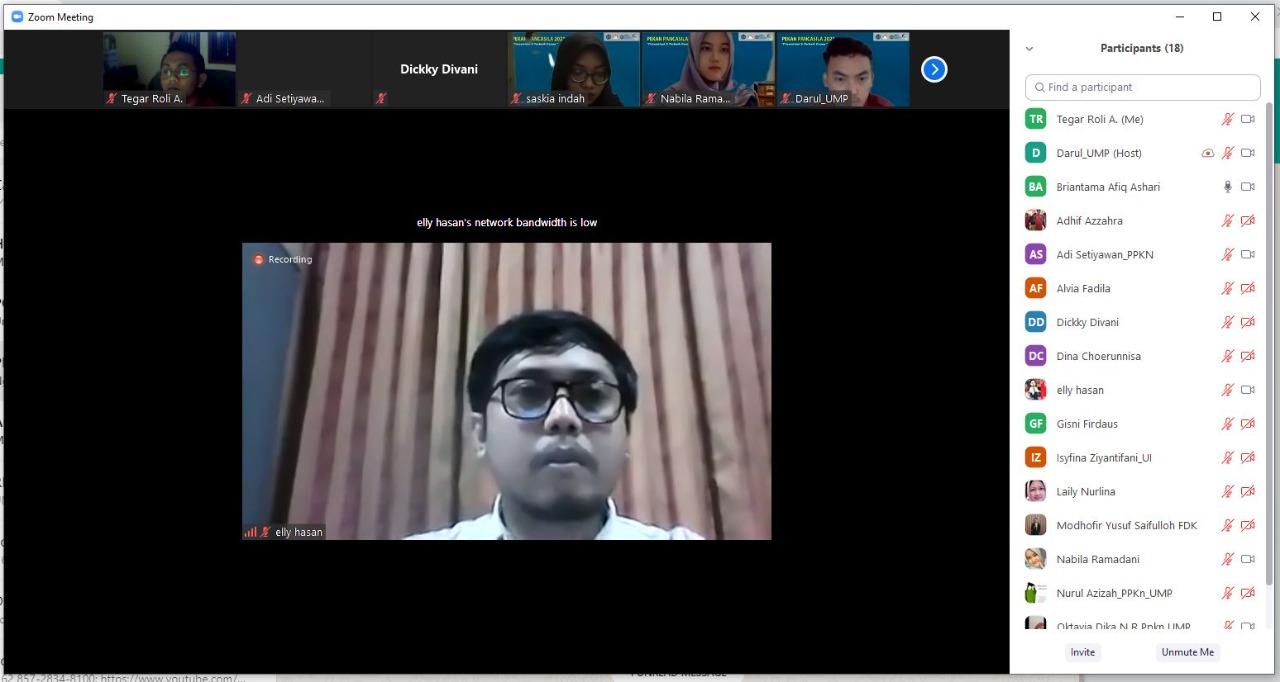 Dr. Elly Hasan Sadeli, M.Pd sebagai dewan juri Lomba essay antar mahasiswa tingkat nasional dalam rangkaian acara pekan Pancasila (Pekasila 2021).