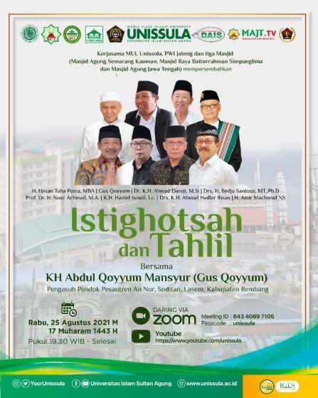 Istighotsah dan Tahlil bersama KH Abdul Qoyyum Mansyur (Gus Qoyyum), Rabu 25 Agustus 2021.