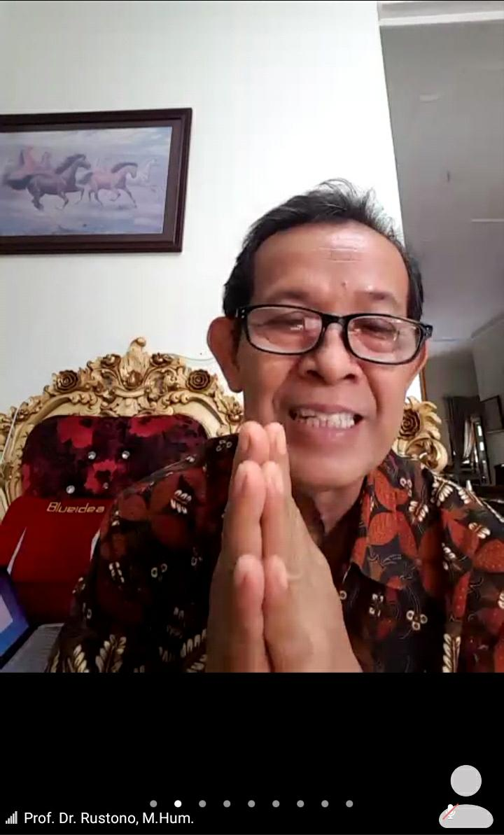 Rektor Universitas Ivet Prof Dr Rustono memberikan sambutan dalam kegiatan penandatanganan MOU antara Universitas Pahlawan Tuanku Tambusai Riau dan Universitas Ivet melalui daring
