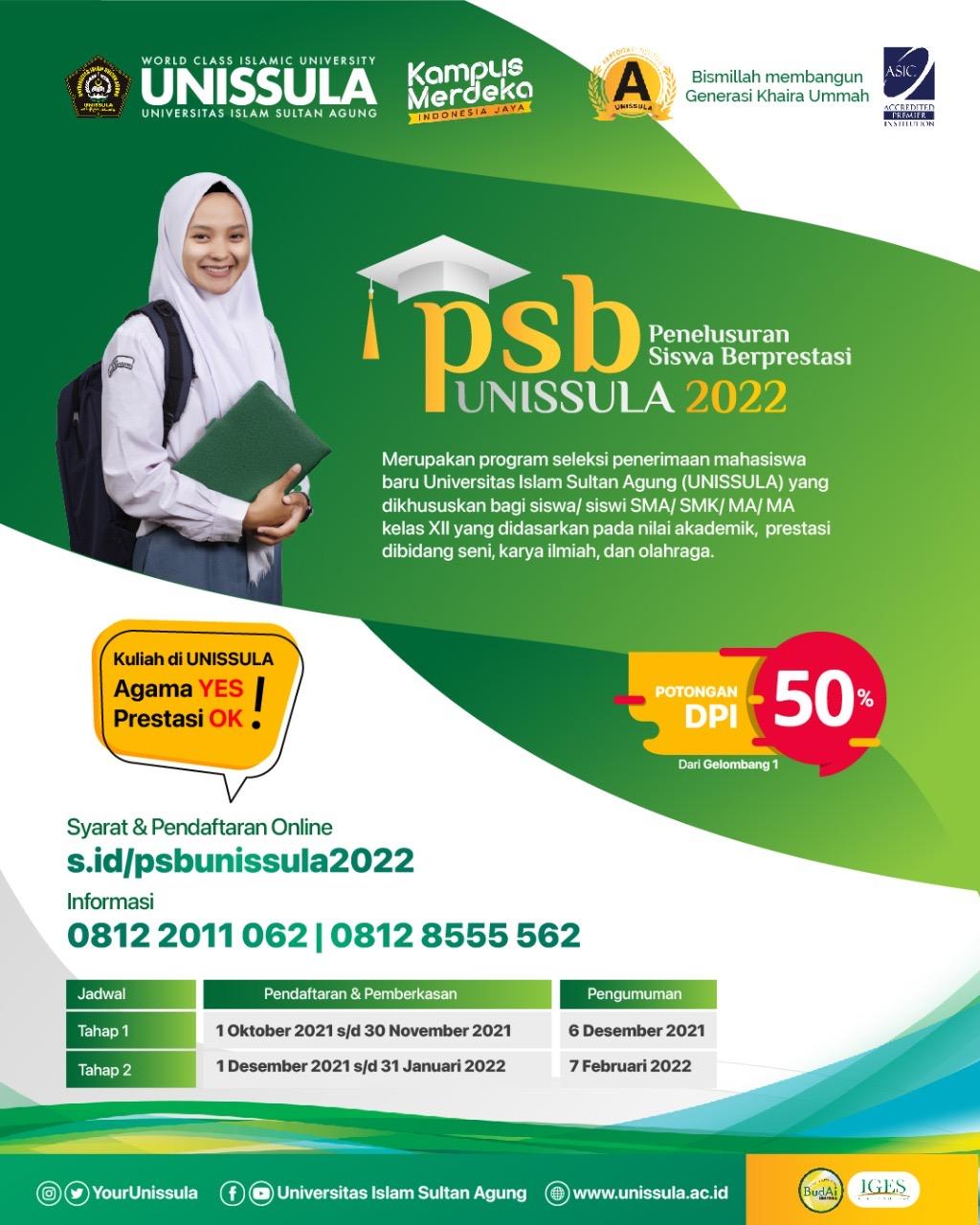 Pembukaan Penerimaan Mahasiswa Baru (PMB) jalur Penelusuran Siswa Berprestasi (PSB) untuk tahun akademik 2022