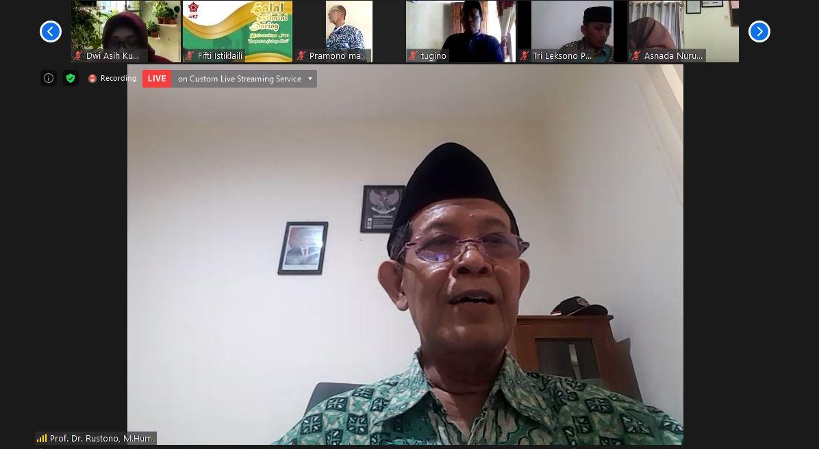 Prof Dr Ahmad Rofiq menyampaikan materi dengan tema Penguatan Cahaya Hati dalam kegiatan Halal Bi Halal keluarga besar Universitas Ivet melalui virtual zoom